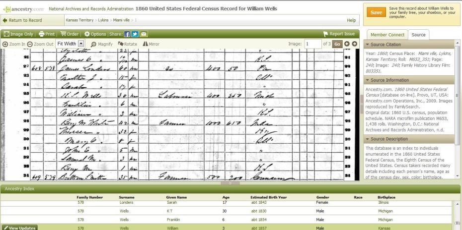 1860 US Census Lykins Kansas Territory showing K T Wells and Franklin and William