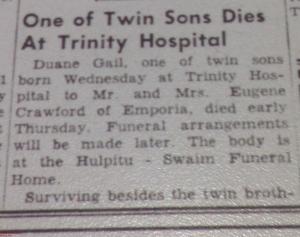 Dodge City Globe 24 Dec 1953 Obituary Duane Gail part 1